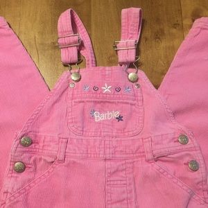 90's Barbie Corduroy Pink Overalls Embroidered 4/5